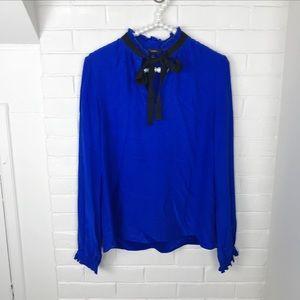 {DREW} Anthropologie Blue 100% Silk Pussy Bow Top